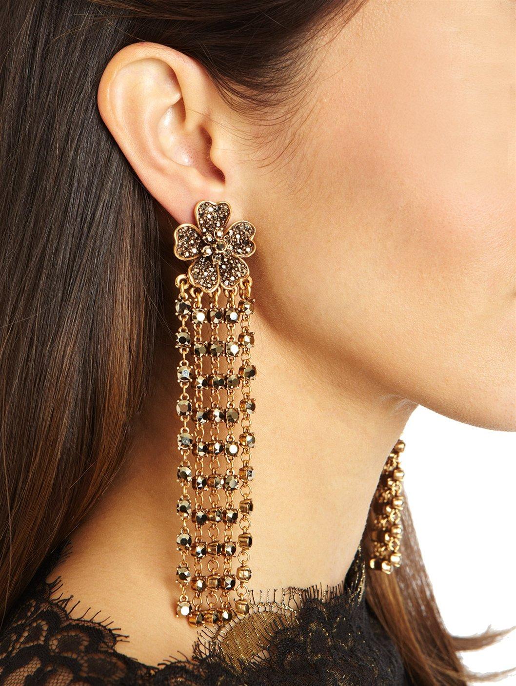Oscar De La Renta Ombre Crystal Tassel Earrings rH41K0