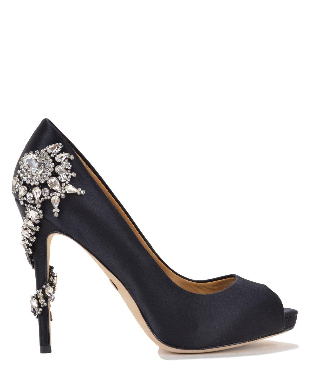 badgley mischka royal satin embellished evening shoe