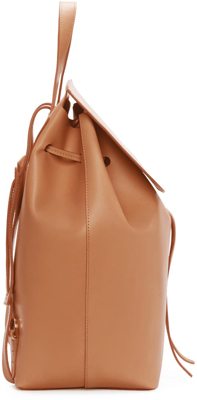 Mansur Gavriel Tan Leather Backpack in Brown