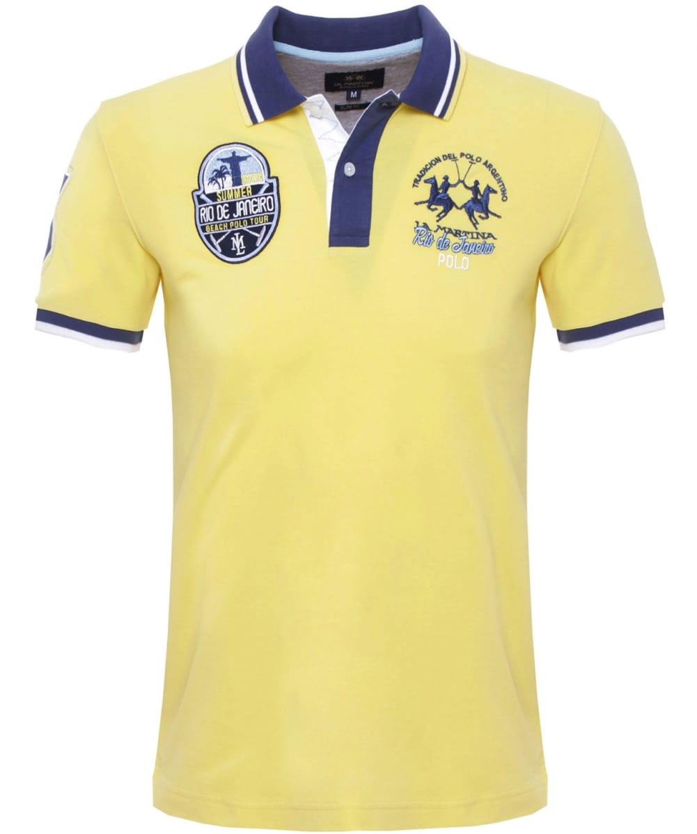 la martina slim fit malco polo shirt in yellow for men lyst. Black Bedroom Furniture Sets. Home Design Ideas