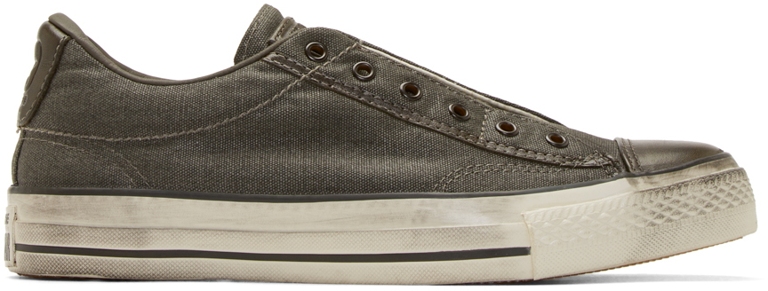 converse grey canvas chuck taylor slip on sneakers in gray for men. Black Bedroom Furniture Sets. Home Design Ideas