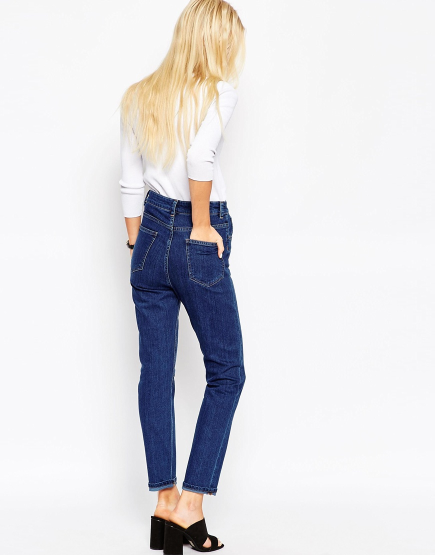asos farleigh slim mom jeans in willow mid wash in blue. Black Bedroom Furniture Sets. Home Design Ideas