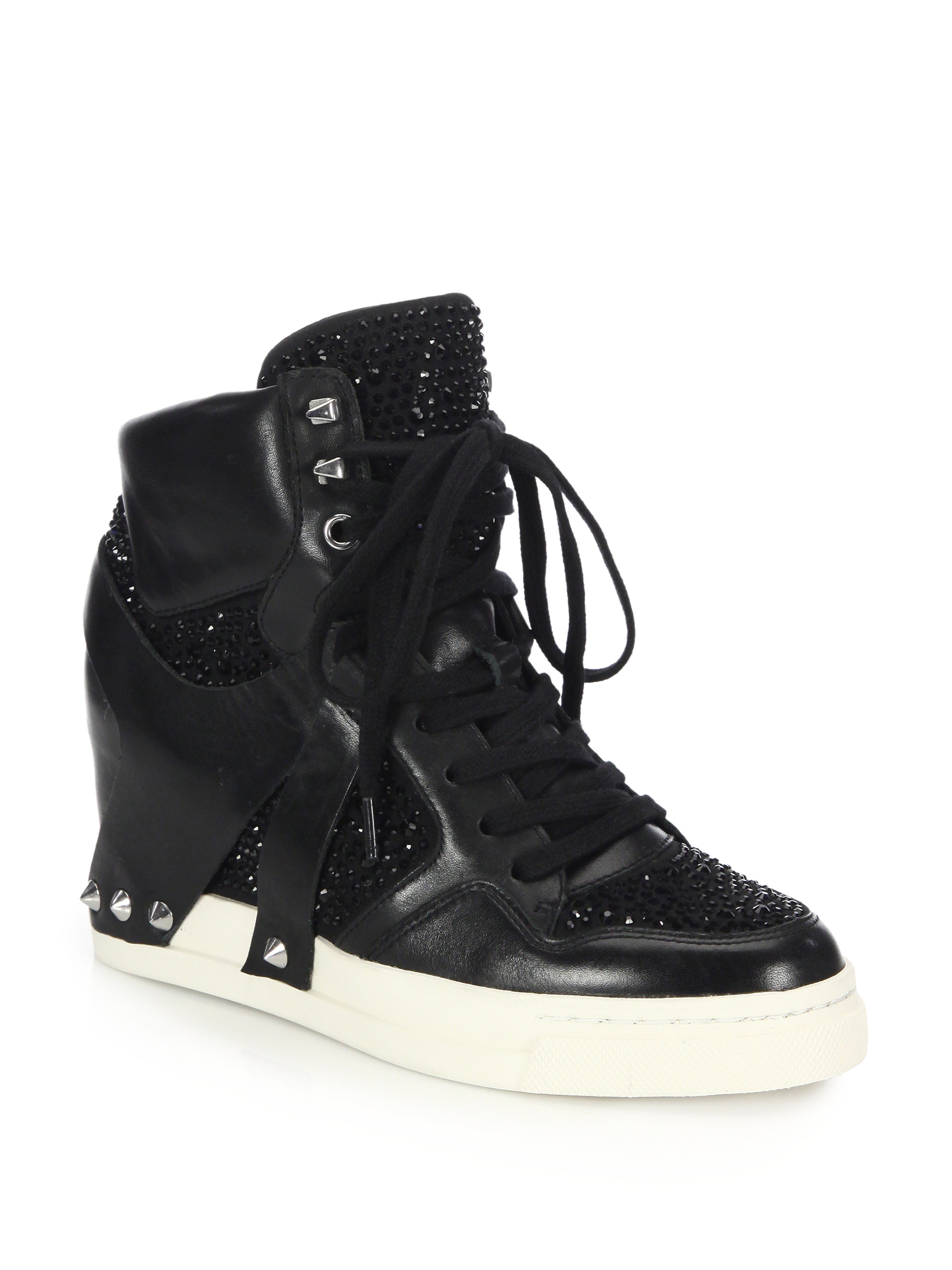 84e5fac0374e Lyst - Ash Club Embellished Leather Wedge Sneakers in Black