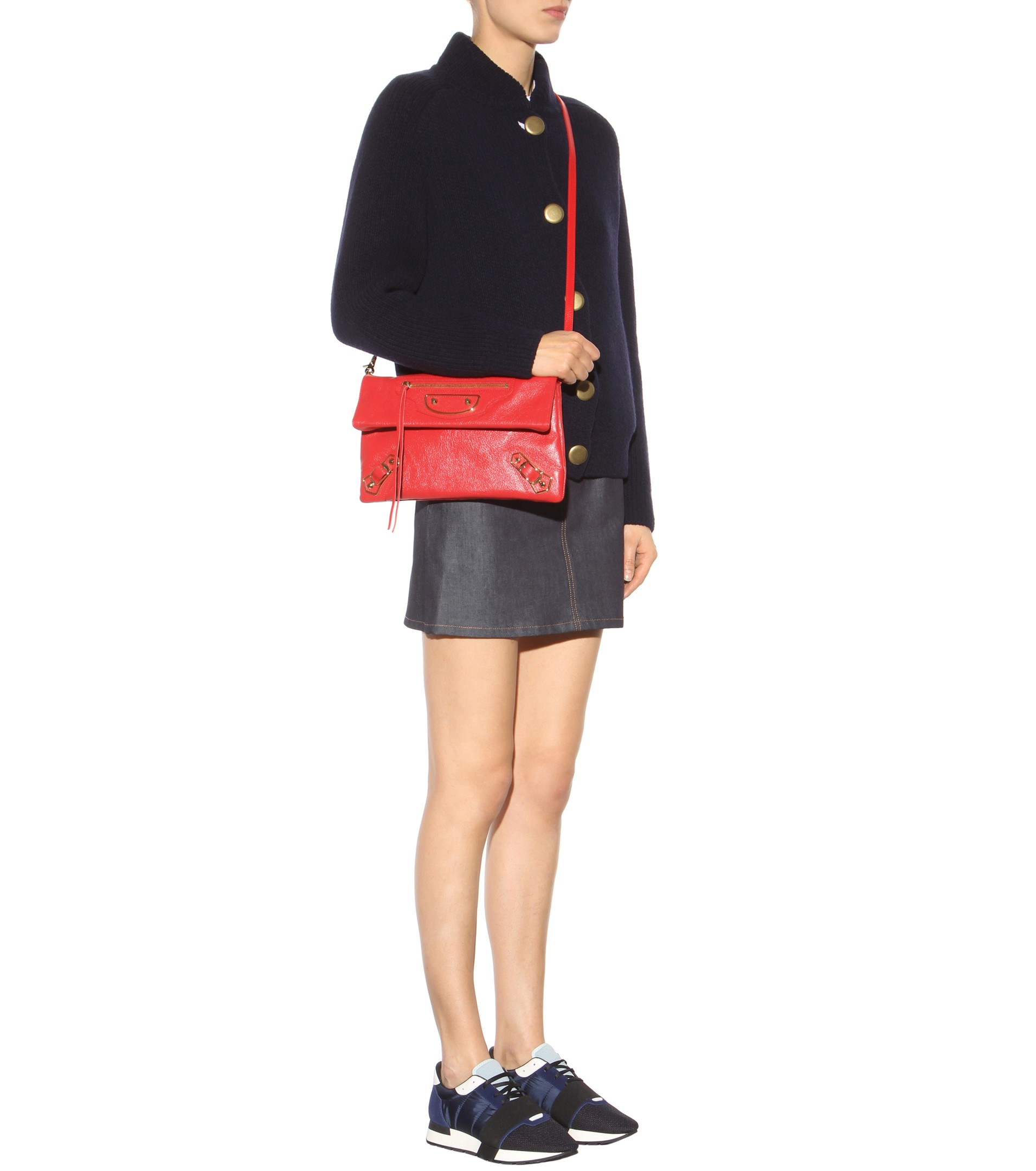 Balenciaga Metallic Classic Edge Envelope Crossbody Bag, Black