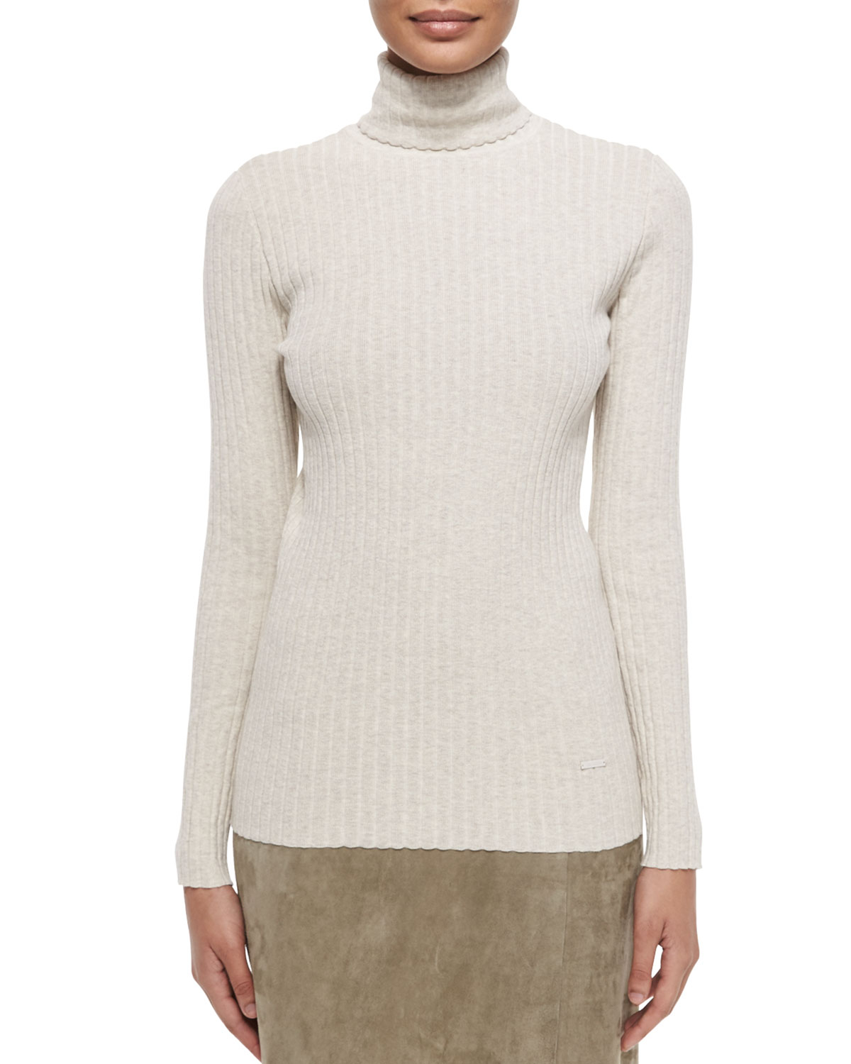 Tory burch Ribbed Turtleneck Sweater in Brown | Lyst