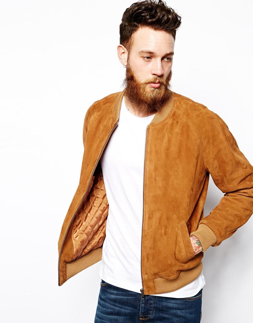 Lyst Asos Suede Bomber Jacket In Brown For Men
