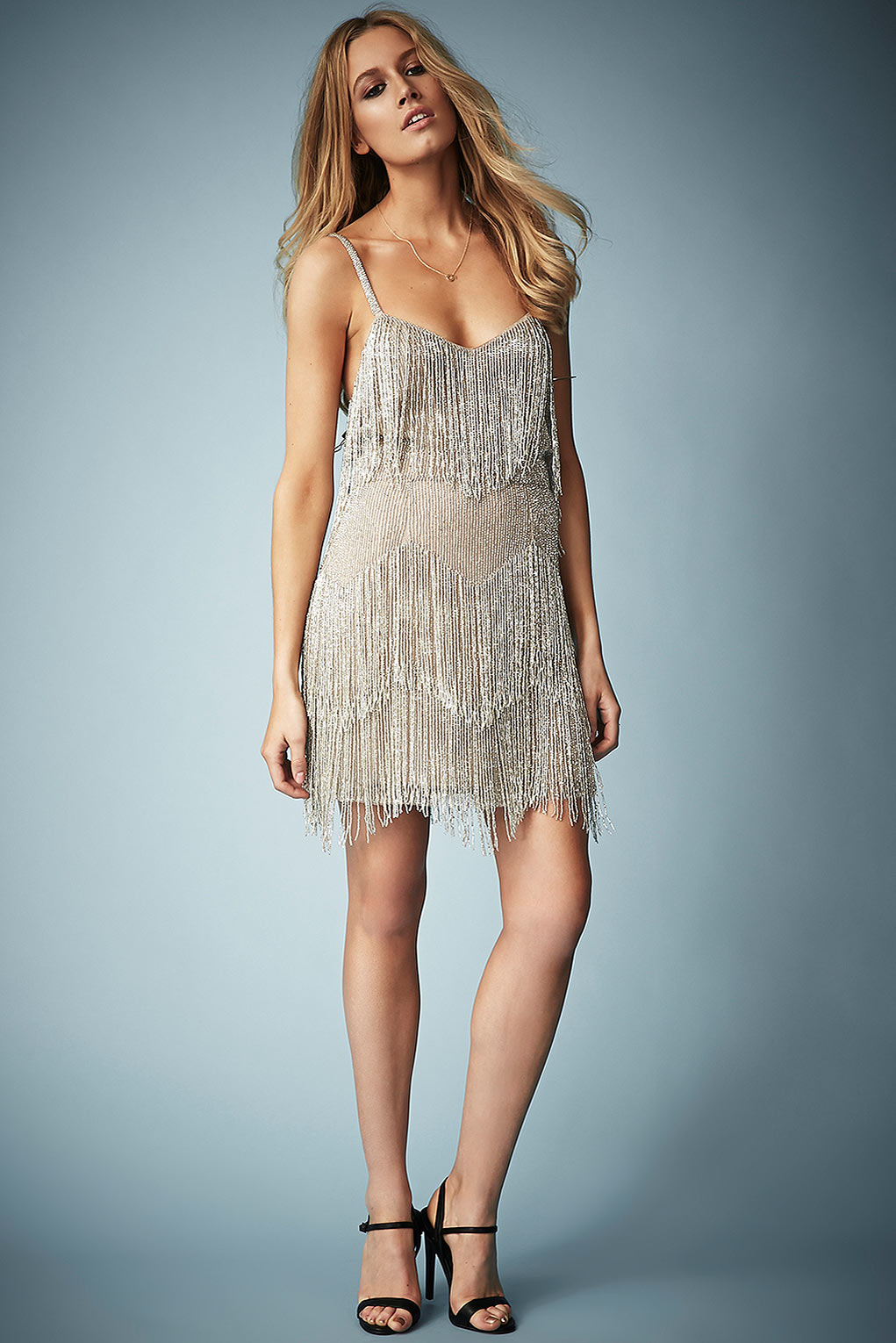Lyst - Topshop Beaded Fringe Tiered Dress By Kate Moss For Silver in ...
