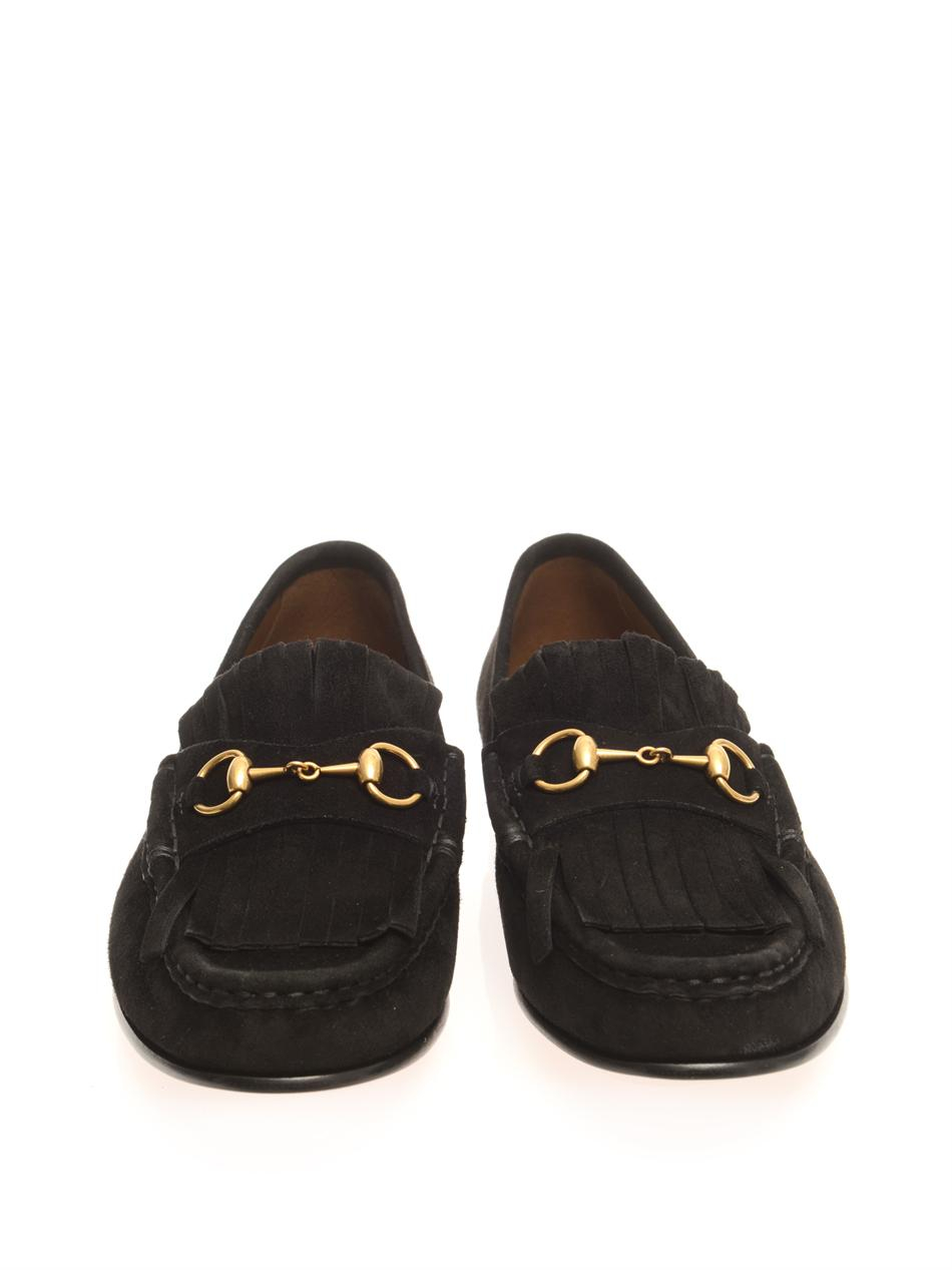 Lyst Gucci Suede Tasselfront Horsebit Loafers In Black