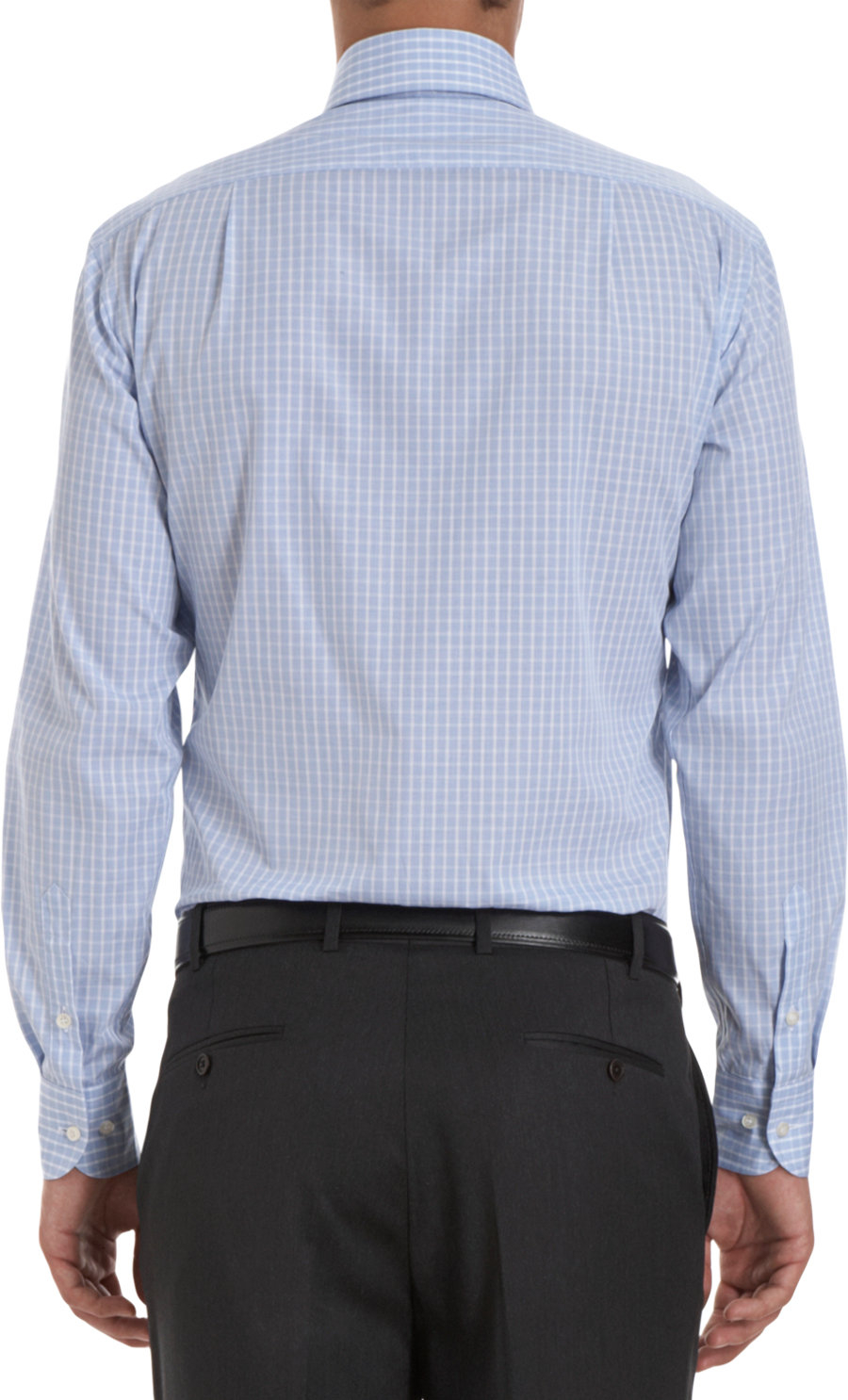Lyst piattelli check dress shirt in blue for men for Blue check dress shirt