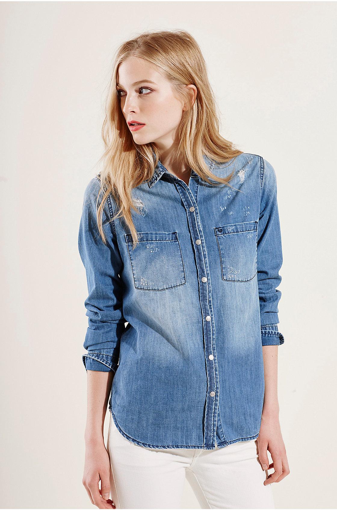 True religion light weight utility denim womens shirt in for Ladies light denim shirt