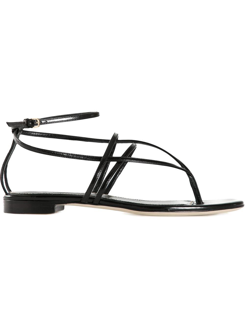 sergio strappy flat sandals in black lyst