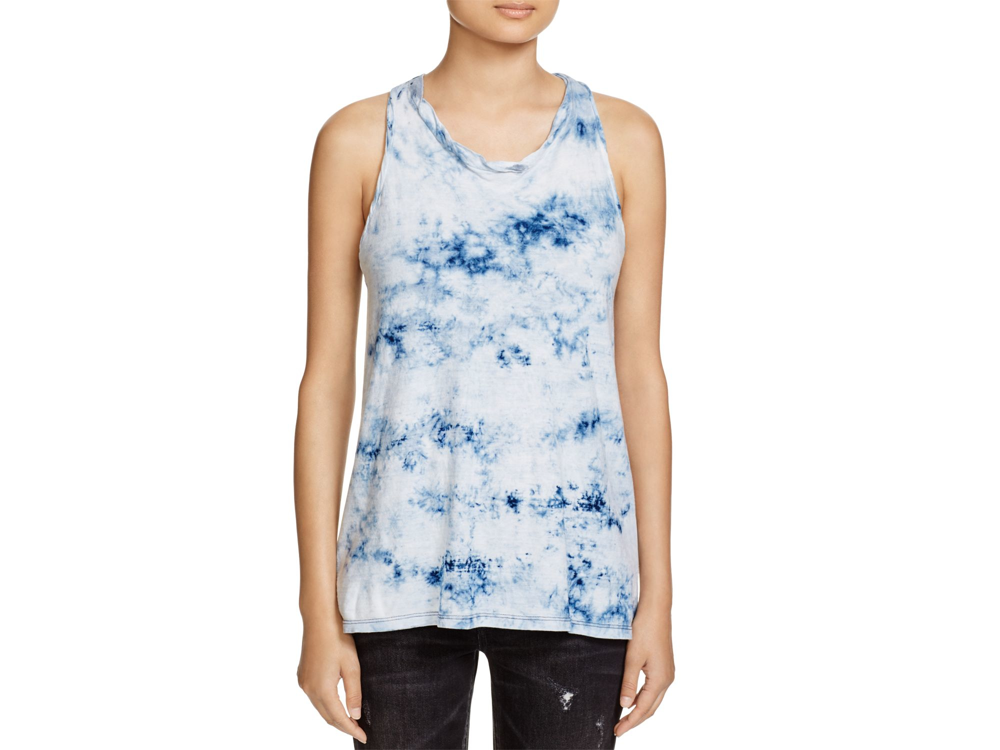 Pam gela tie dye racerback tank in blue lyst for How to wash tie dye shirt after dying