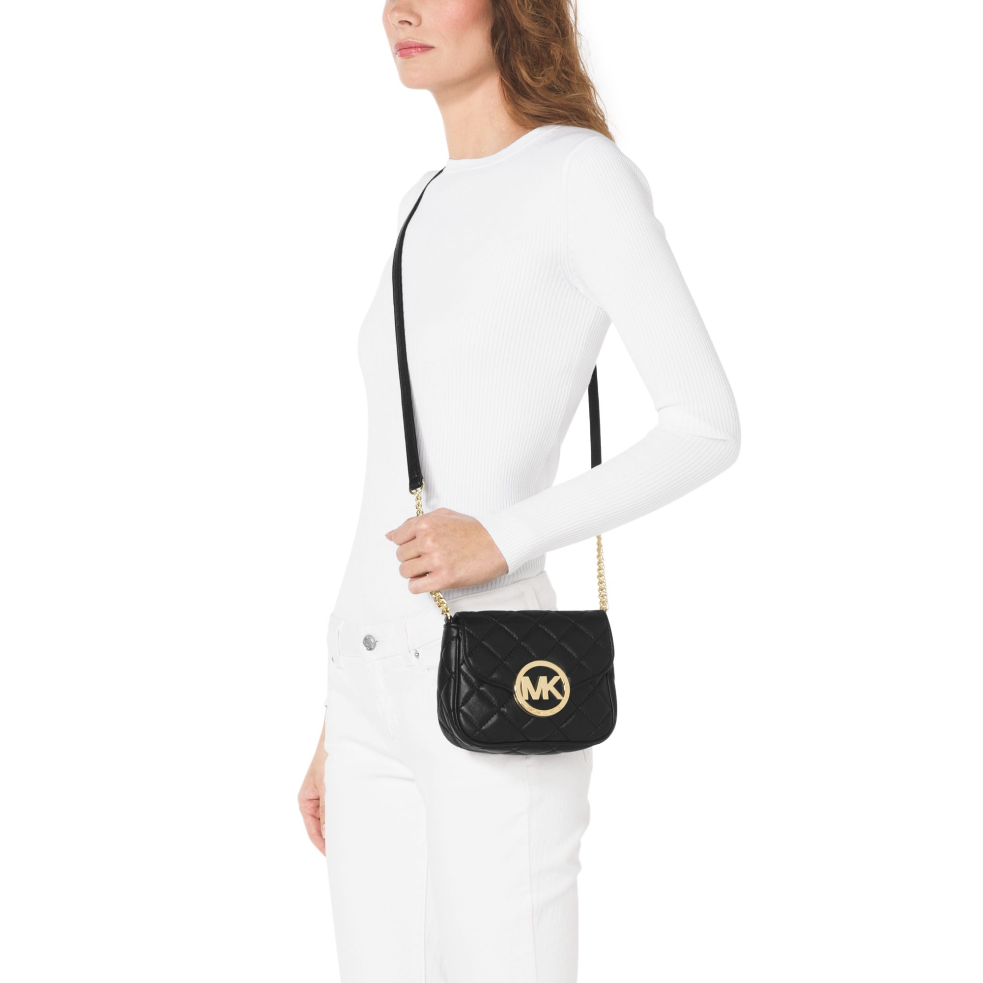 2ce64140fbad Lyst - Michael Kors Fulton Quilted-leather Crossbody in Black