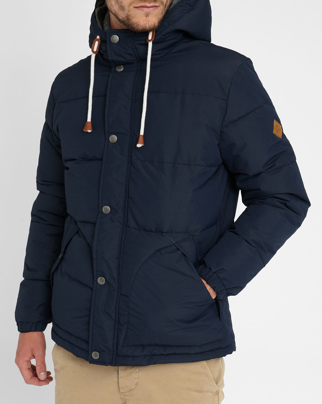 jack jones navy jjorplum down jacket in blue for men lyst. Black Bedroom Furniture Sets. Home Design Ideas