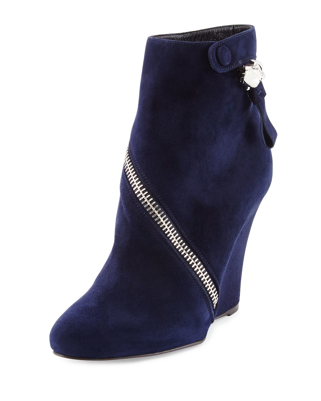 mcqueen asymmetric zip wedge boot in blue lyst