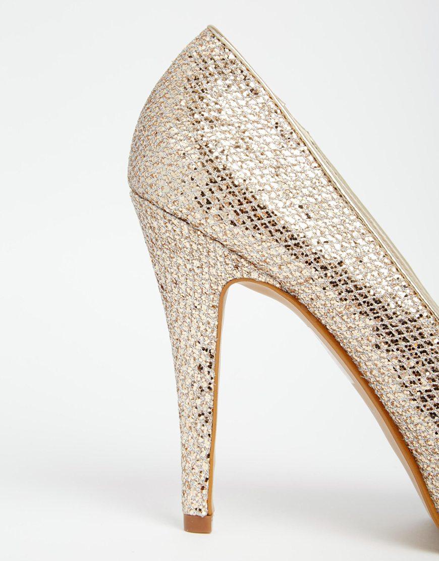 389dd00a6d88 ALDO Nean Gold Glitter Peep Toe Heeled Shoes in Metallic - Lyst