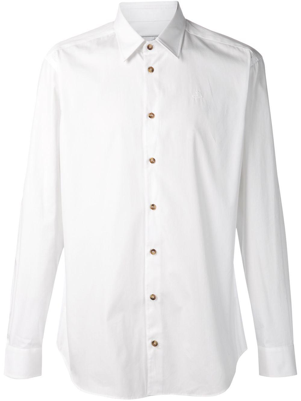 Vivienne westwood cutaway collar shirt in white for men lyst for White cutaway collar shirt