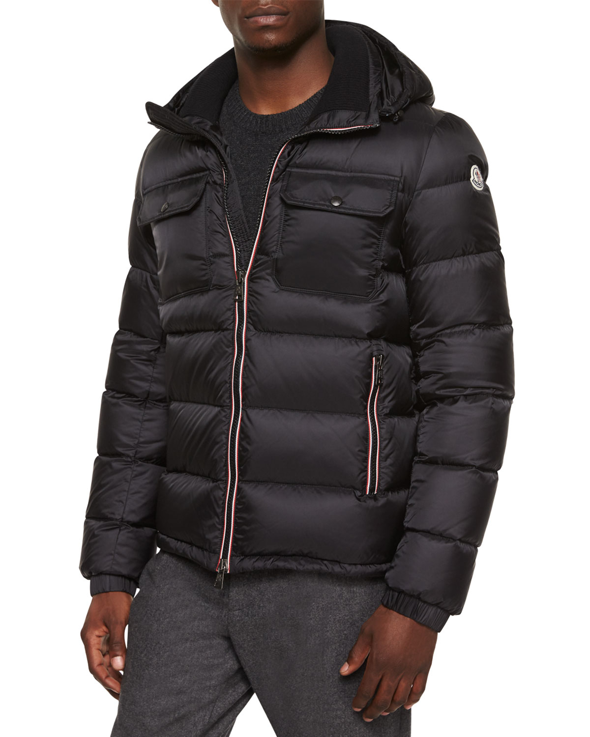 moncler demar quilted puffer jacket in black for men lyst. Black Bedroom Furniture Sets. Home Design Ideas