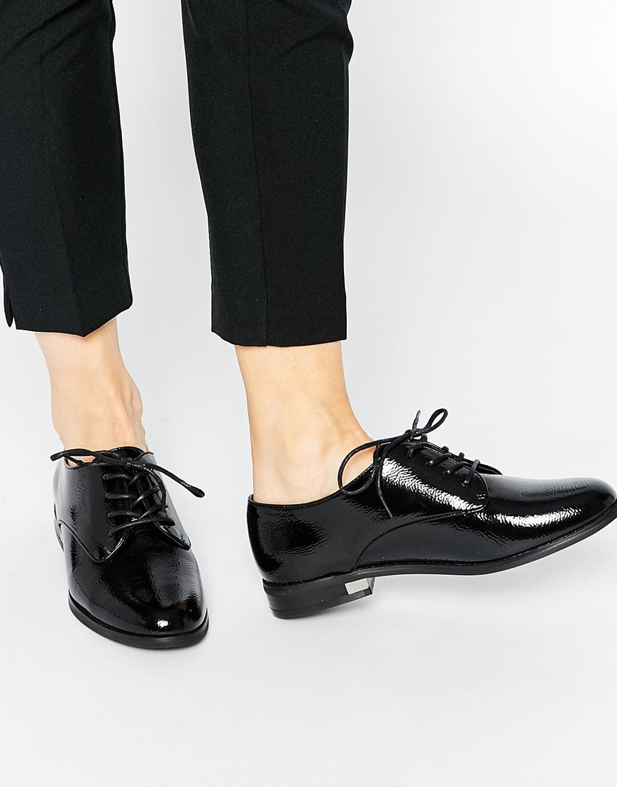 Lyst Aldo Marwen Black Patent Brogue Flat Shoes In Black