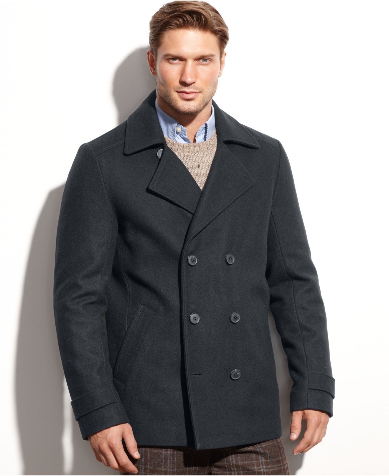 Lyst Calvin Klein Wool Blend Double Breasted Pea Coat In
