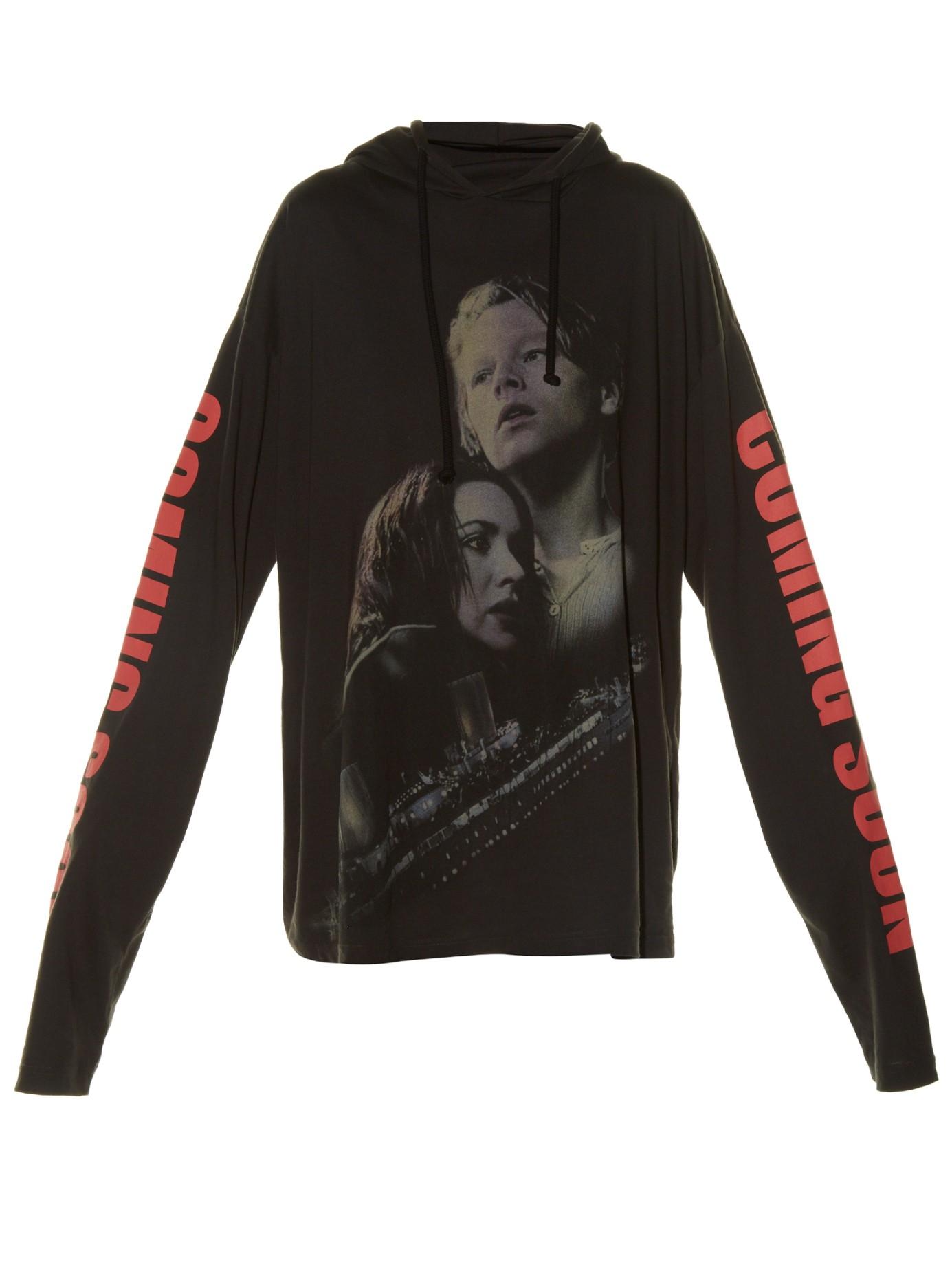 Vetements Coming Soon Print Hooded Sweatshirt In Pink Lyst
