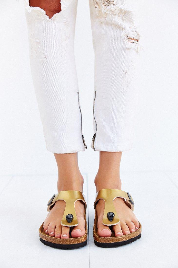 e96d6cf04e6f Lyst - Birkenstock Gizeh Thong Sandal in Metallic