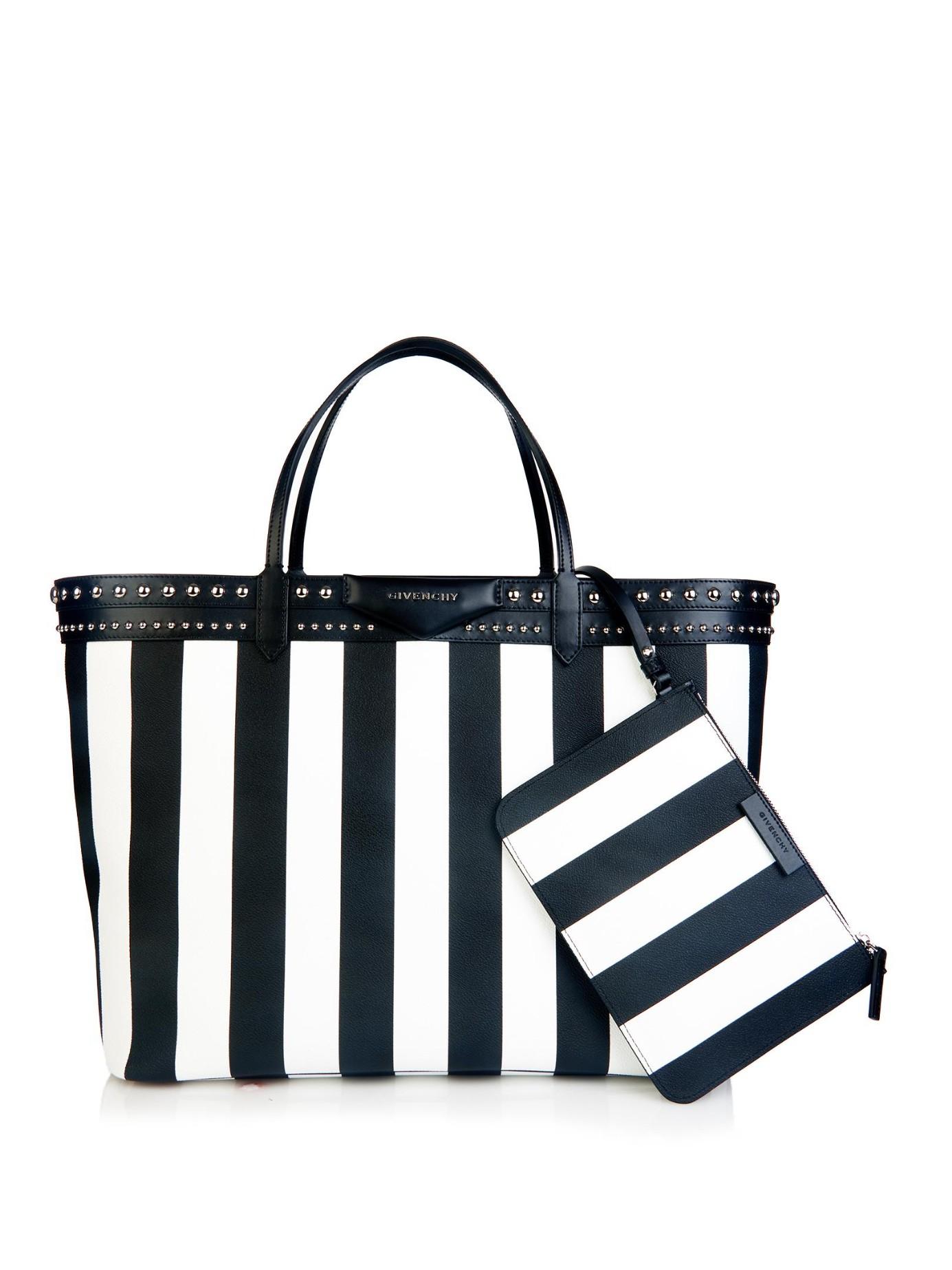Givenchy Antigona Striped Coated-Canvas Tote in Black