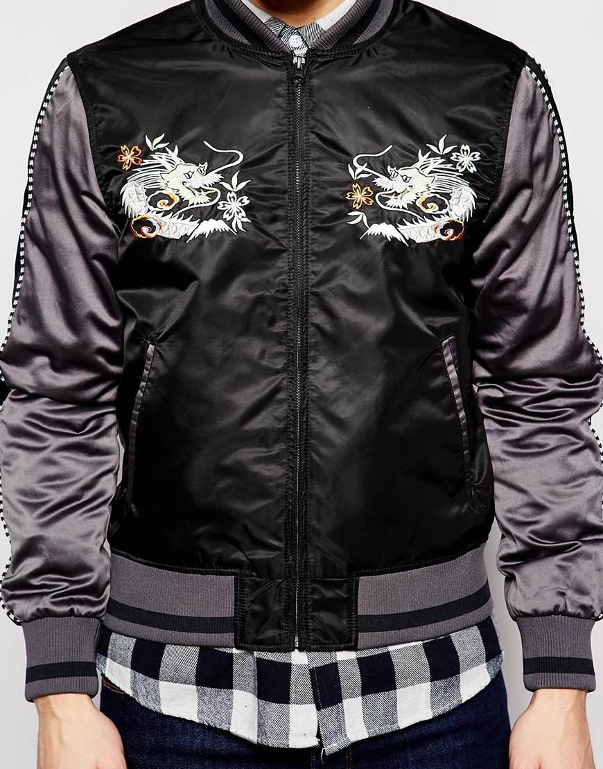 Lyst Evisu Baseball Jacket Souvenir Satin Logo Embroid