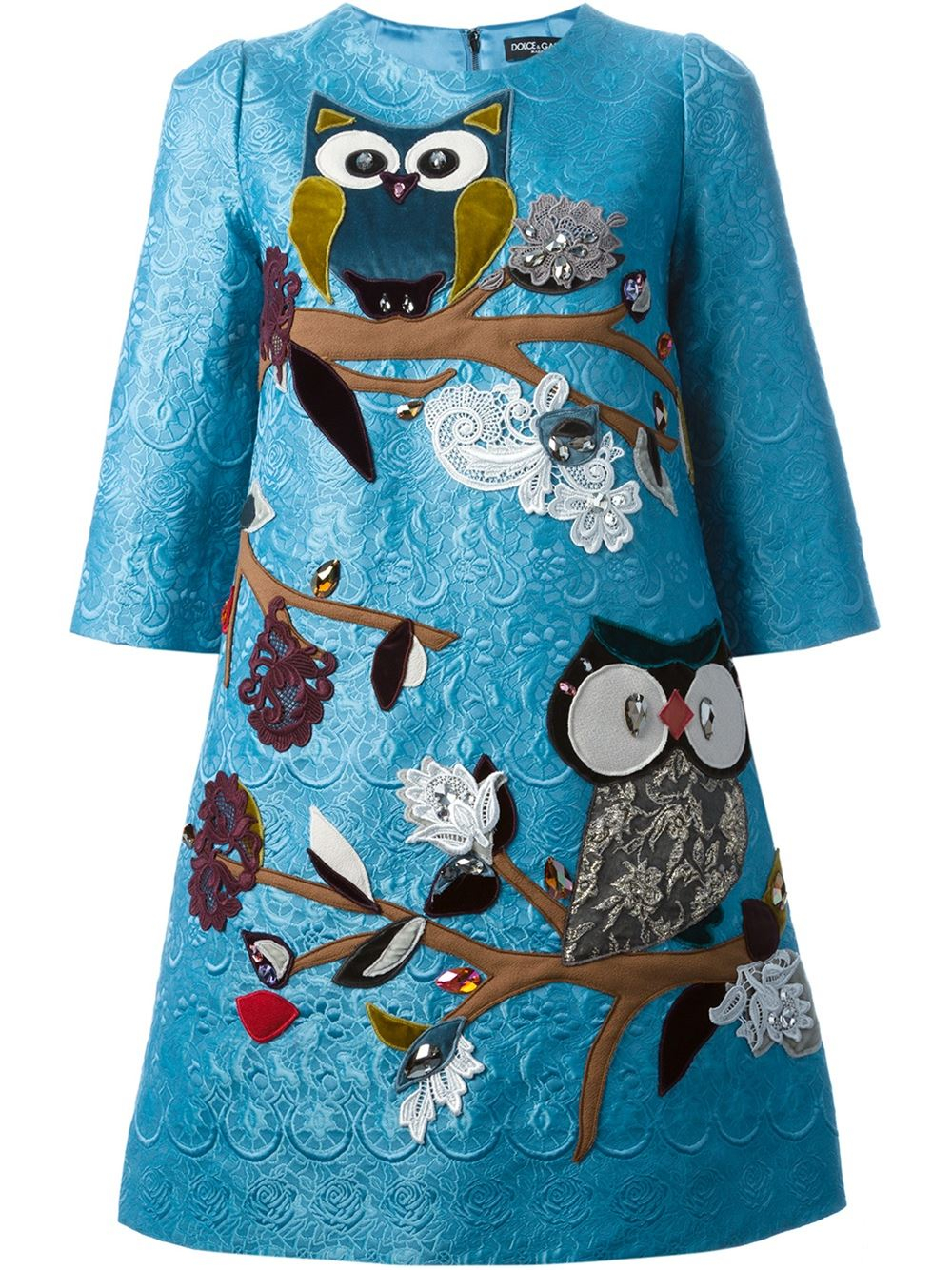 Lyst Dolce Amp Gabbana Owl Embroidered Dress In Blue