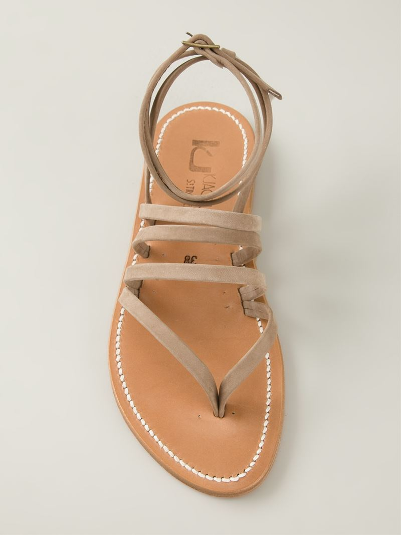 high fashion where to buy best service K. Jacques Strappy Flat Sandals in Natural - Lyst