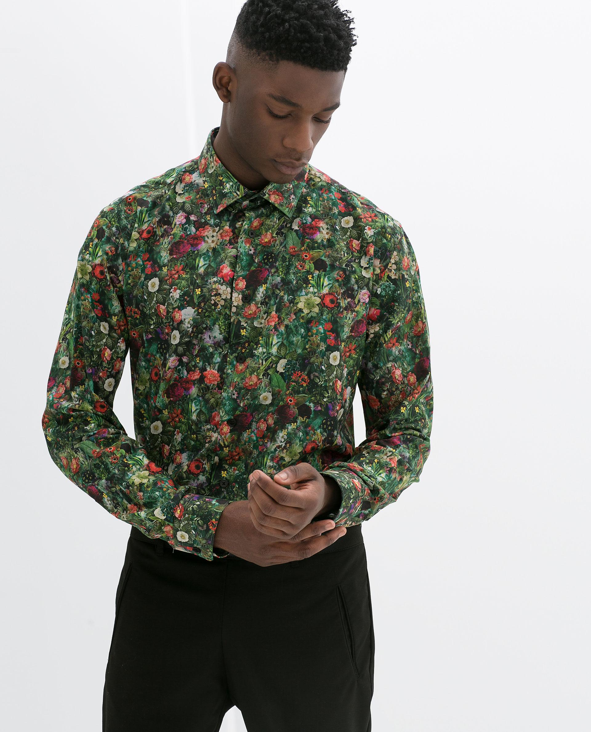 Zara Floral Print Shirt In Green For Men Lyst