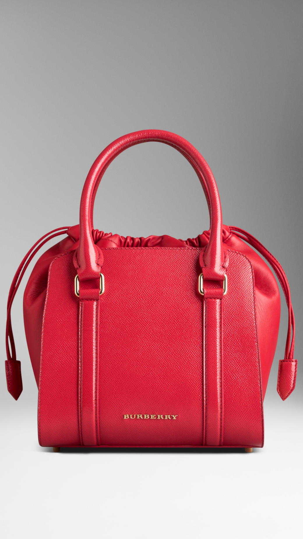 Lyst Burberry Small Patent London Leather Tote Bag In Red