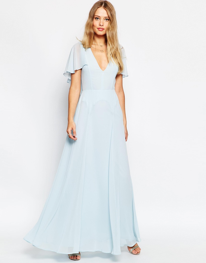 a2ebb0ad1b2b ASOS Flutter Sleeve Cape Back Maxi Dress in Blue - Lyst