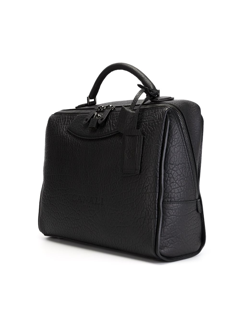 Canali Leather Briefcase In Black For Men Lyst