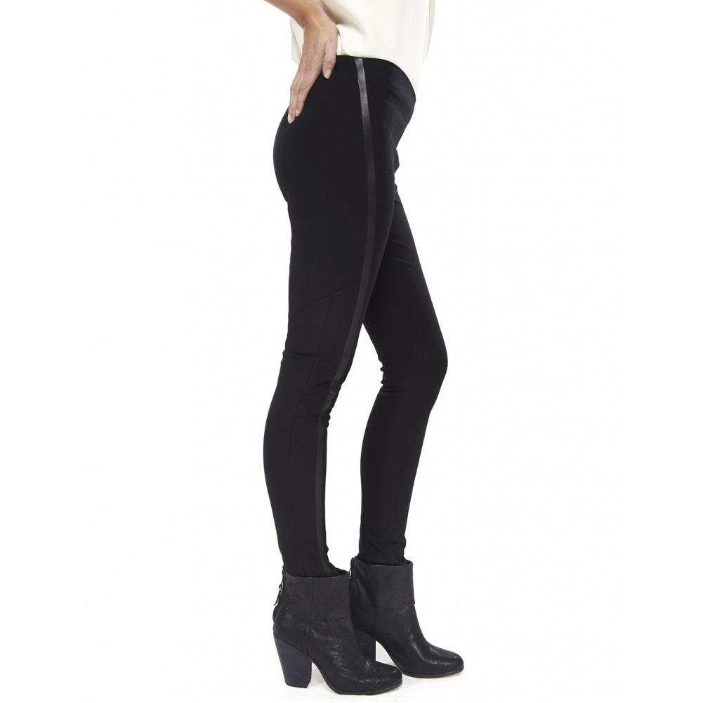 rag /& bone Leather-Trimmed Black Van Dyke Leggings