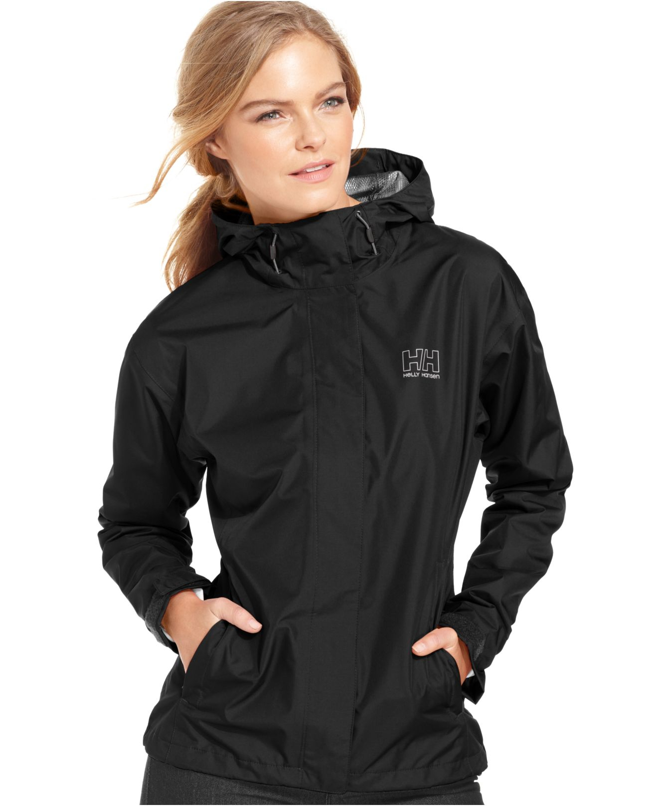 Helly hansen Seven J Hooded Rain Jacket in Black | Lyst