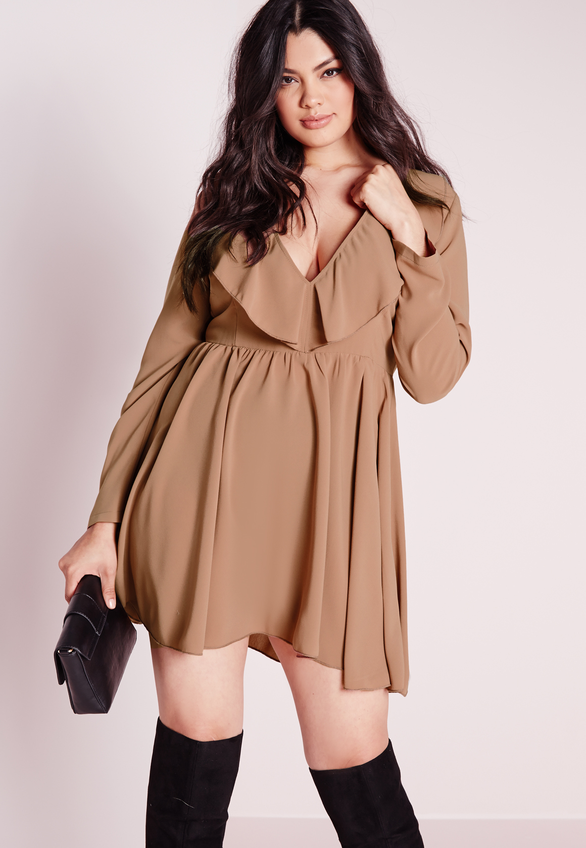 Missguided Plus Size Frilly Swing Dress Nude In Natural Lyst