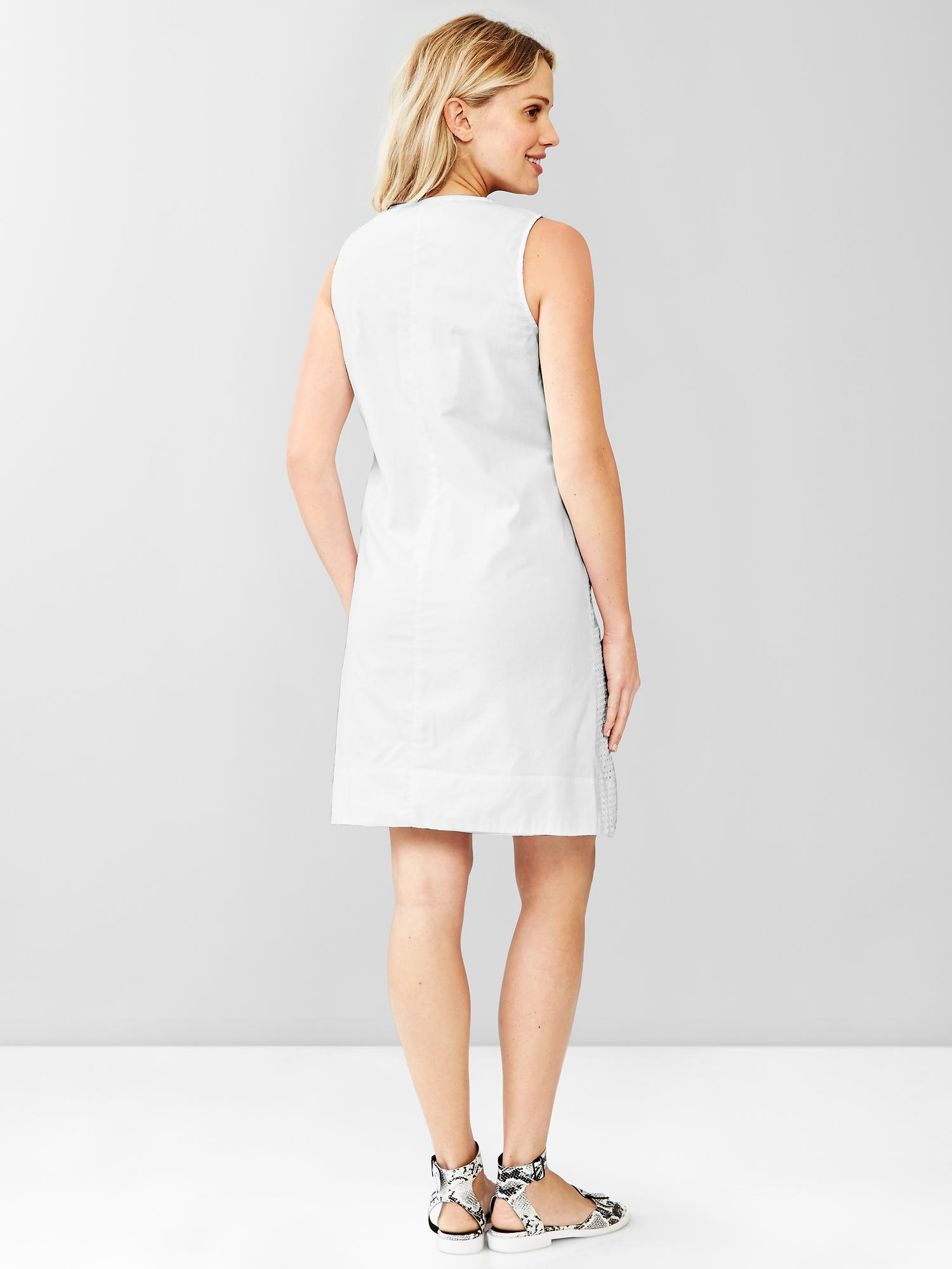 Gap embroidered eyelet shift dress in white lyst