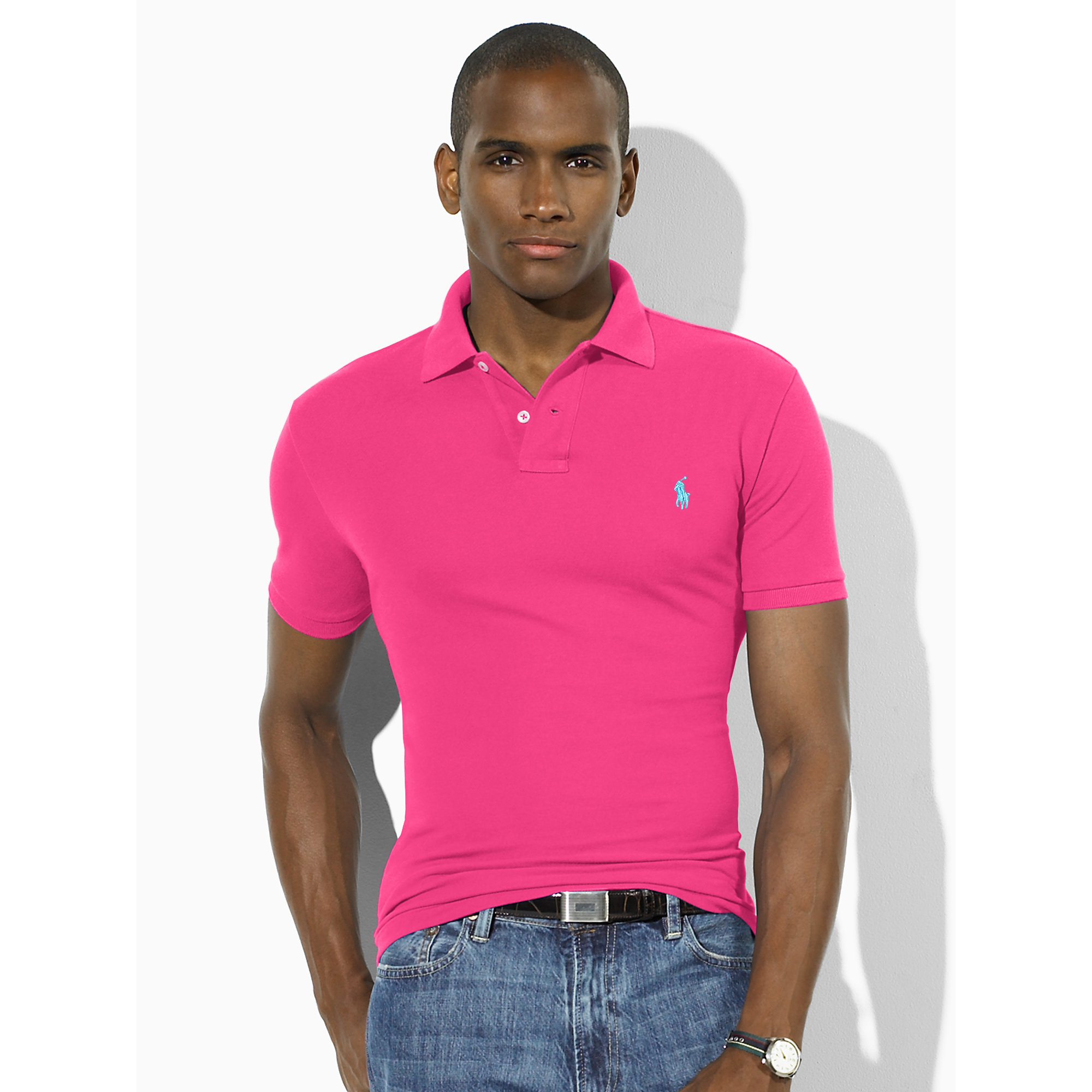 Polo ralph lauren Slim-fit Mesh Polo Shirt in Pink for Men | Lyst