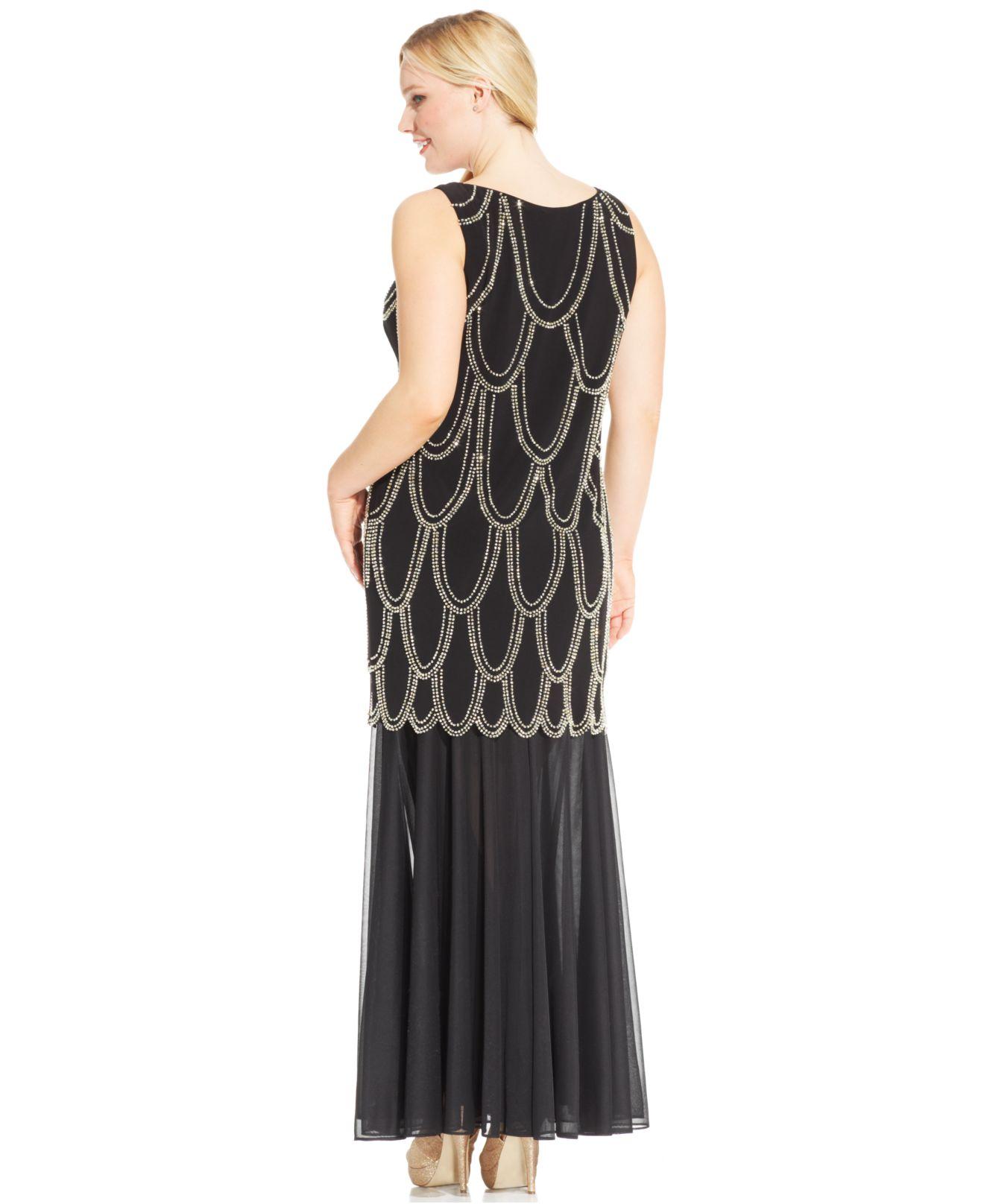 Lyst Betsy Amp Adam Plus Size Beaded Drop Waist Dress In Black