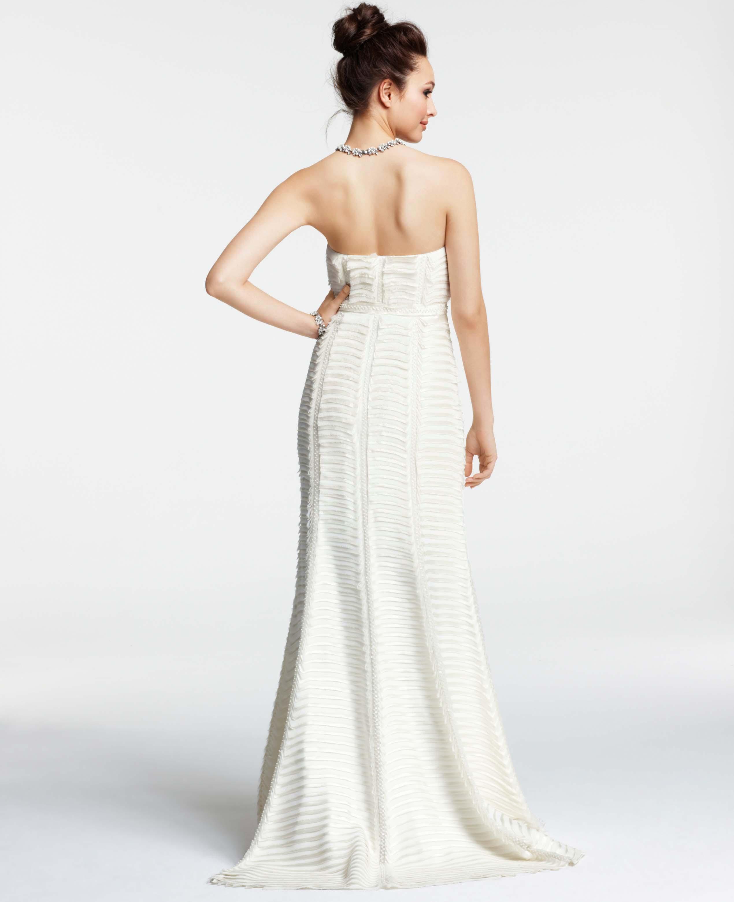 Ann taylor silk charmeuse tiered strapless wedding dress in white gallery junglespirit Choice Image