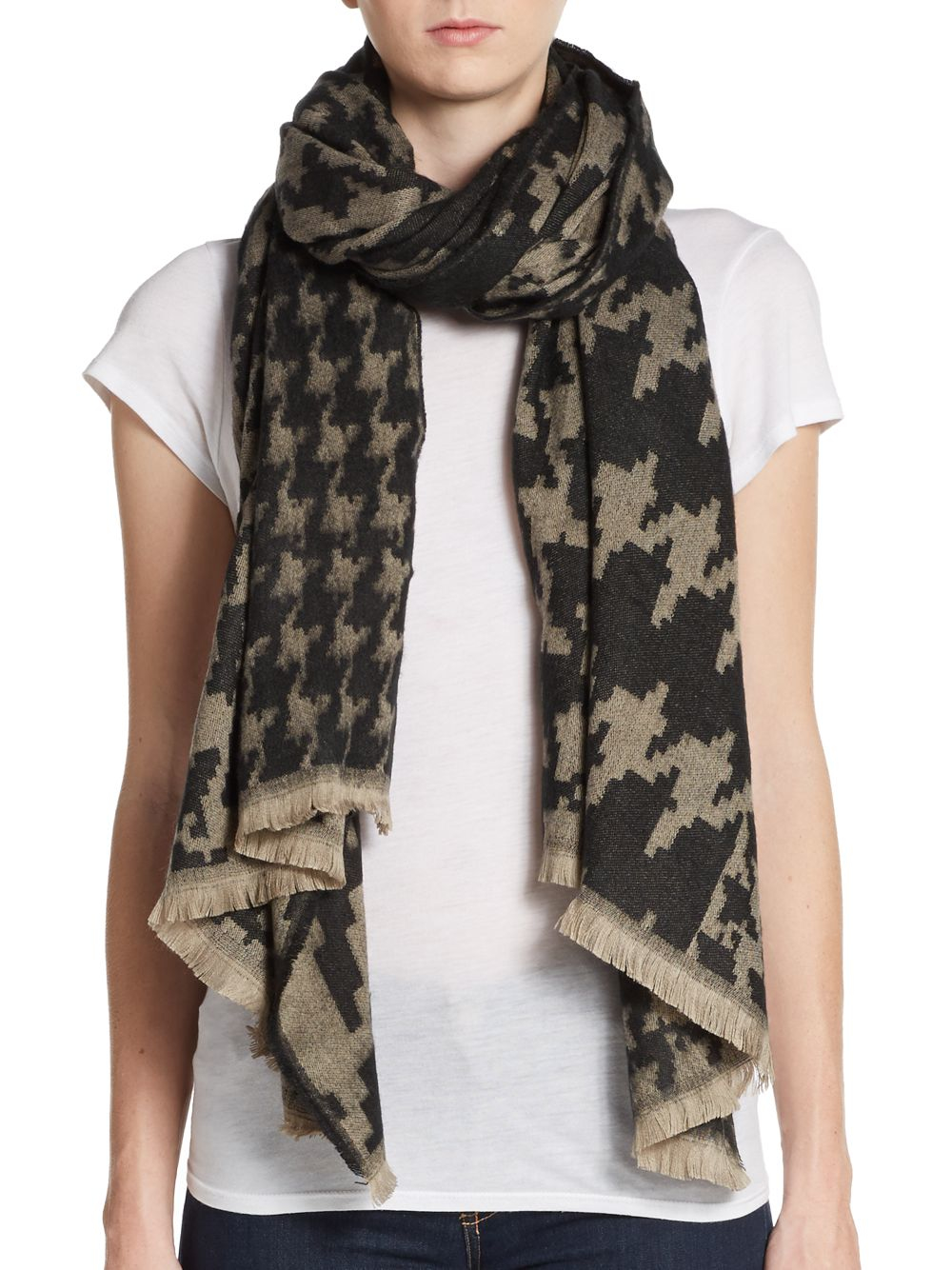 saks fifth avenue houndstooth scarf in black lyst