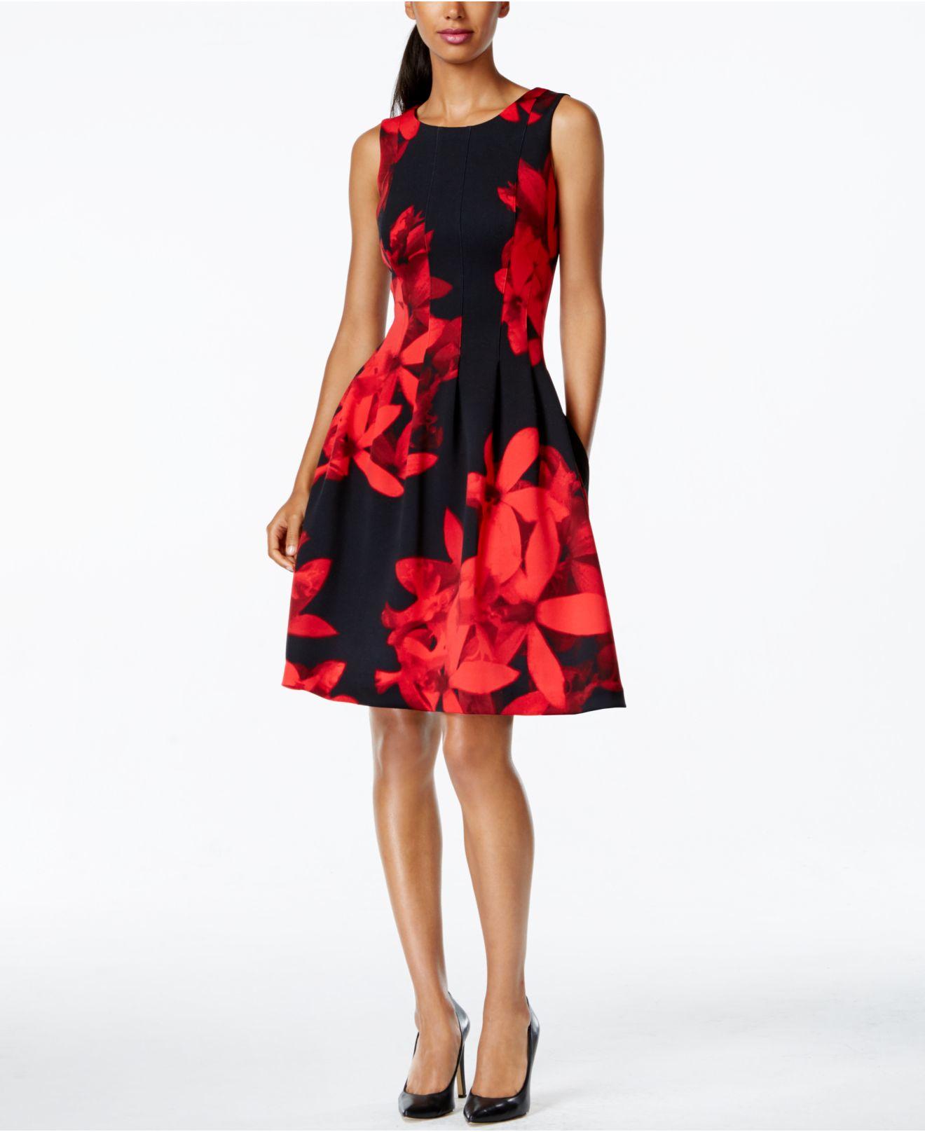Calvin Klein Seamed Side Pocket Floral Dress In Black Lyst