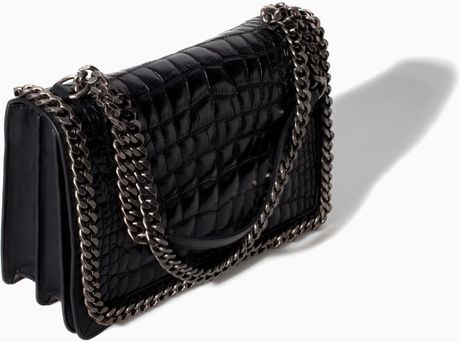 Zara Croc And Chain City Bag In Black Lyst