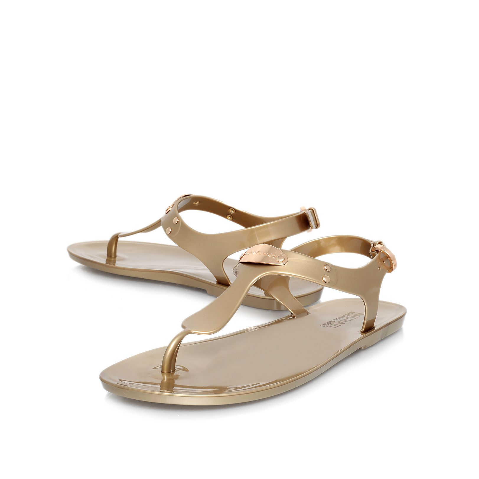 99529330646 michael kors jelly plate sandals belt men gold - Marwood ...