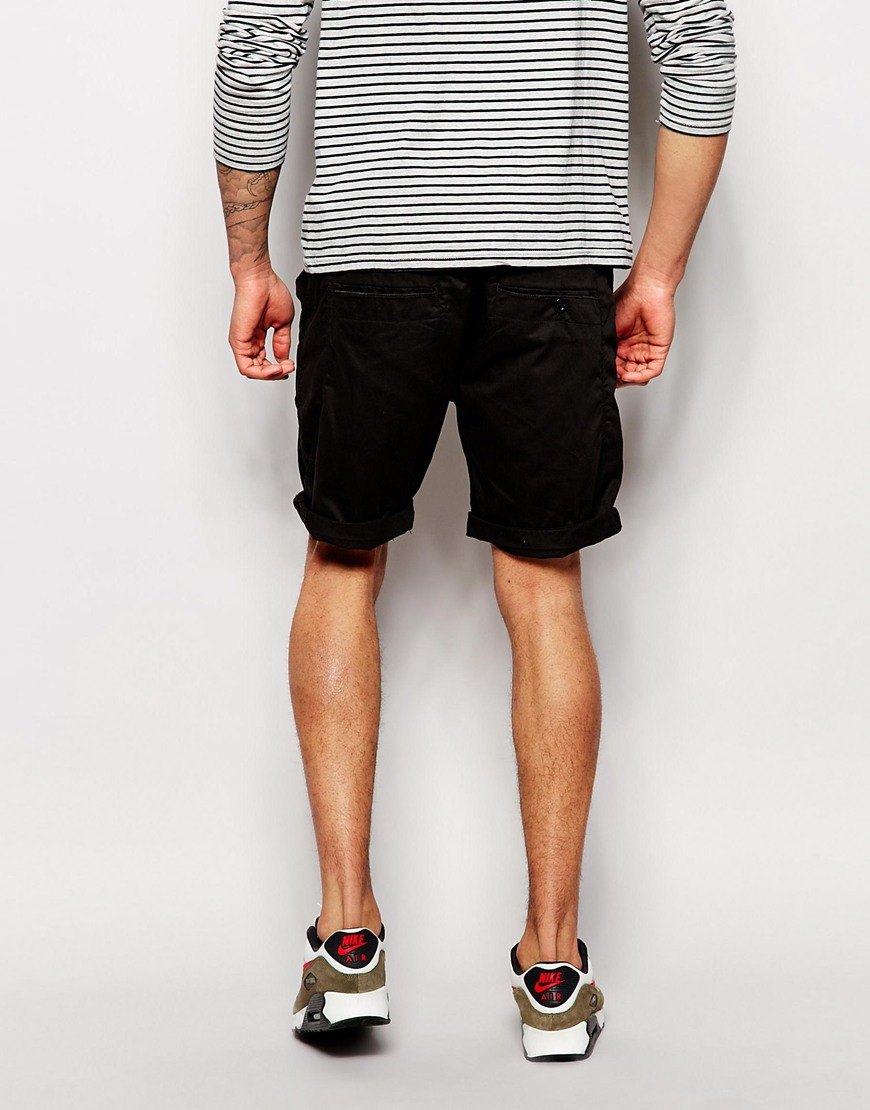 g star raw chino shorts bronson straight fit in black for men lyst. Black Bedroom Furniture Sets. Home Design Ideas