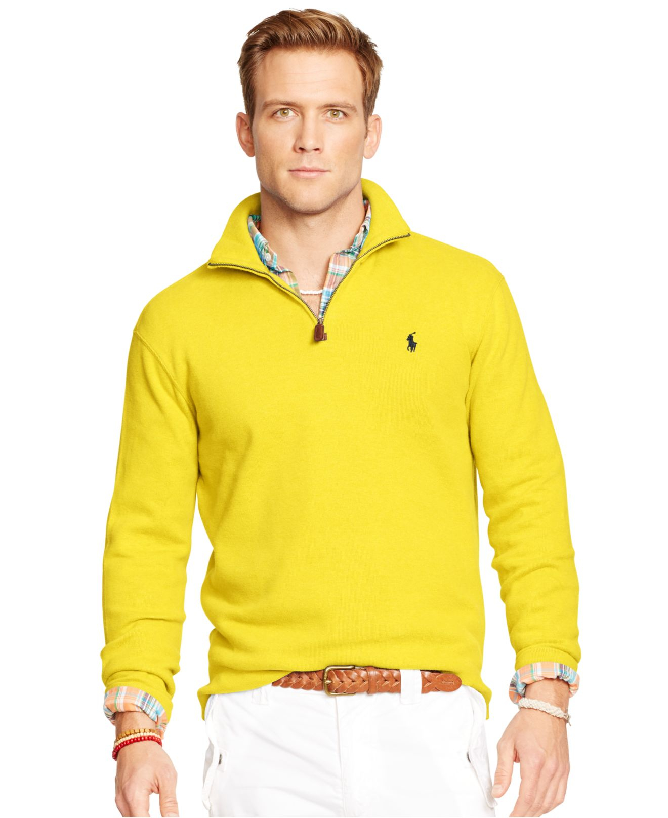 polo ralph lauren french rib half zip pullover in yellow. Black Bedroom Furniture Sets. Home Design Ideas