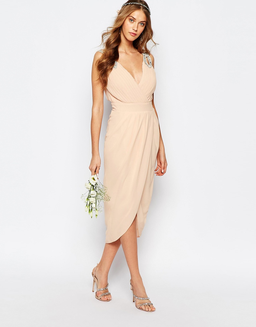 Tfnc London Wedding Wrap Embellished Midi Dress In Natural
