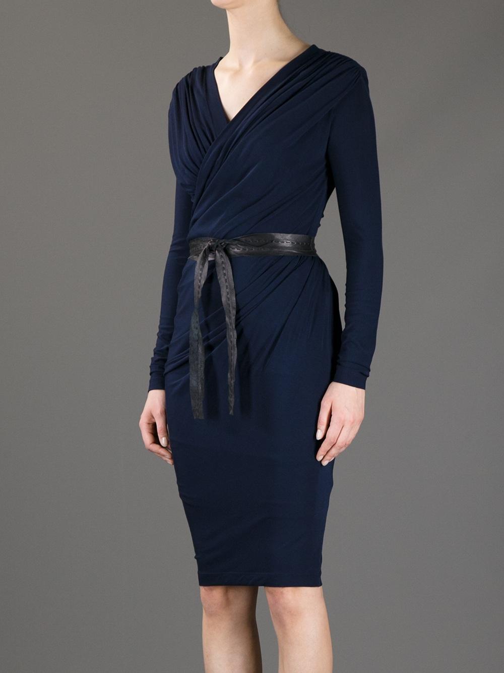 Donna Karan Belted Wrap Dress In Blue Lyst