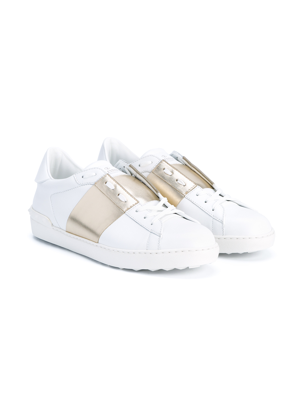 be7cfc023d99 Lyst - Valentino Rockstud Leather Sneakers in White